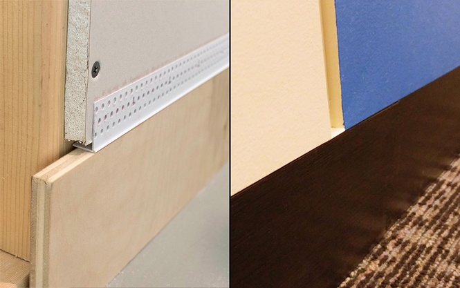 Modernize any space by creating flush baseboards with the clean and sharp lines of Trim-Tex Architectural L Bead.