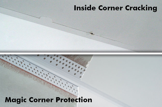 Simply repair an inside corner by fully removing the existing tape and then replacing it with Magic Corner.