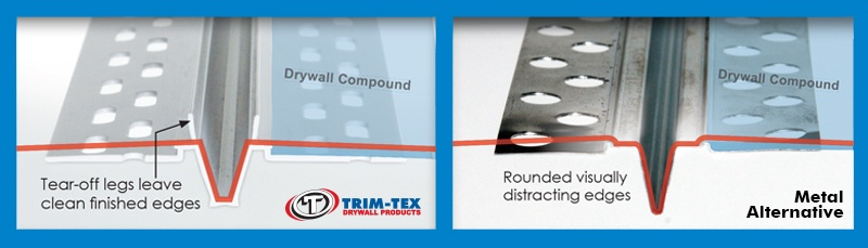 Vinyl expansion beads leave clean finished edges in comparison to metal expansion beads.