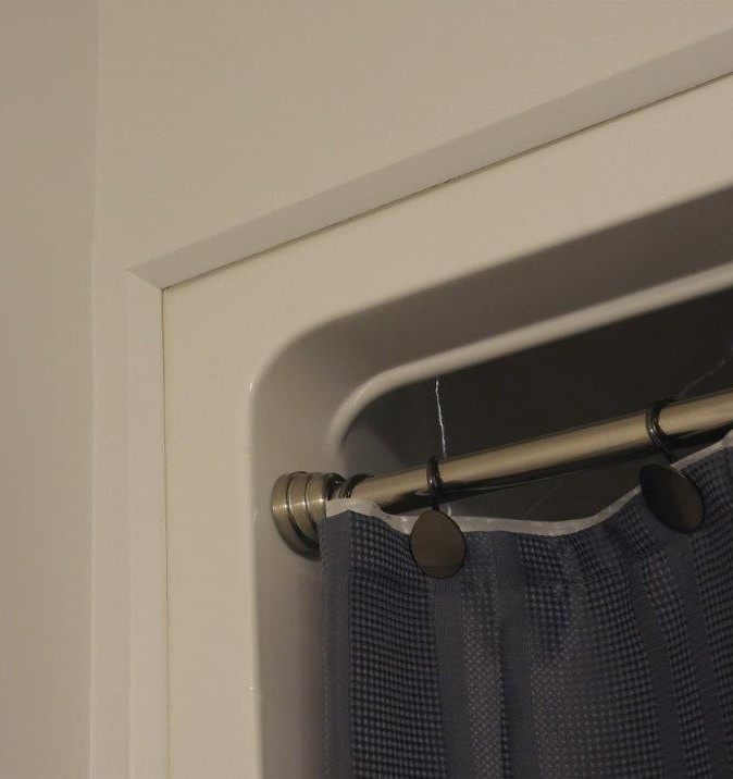Chamfer Stop finishes shower surrounds to allow for a continious look throughout a project.