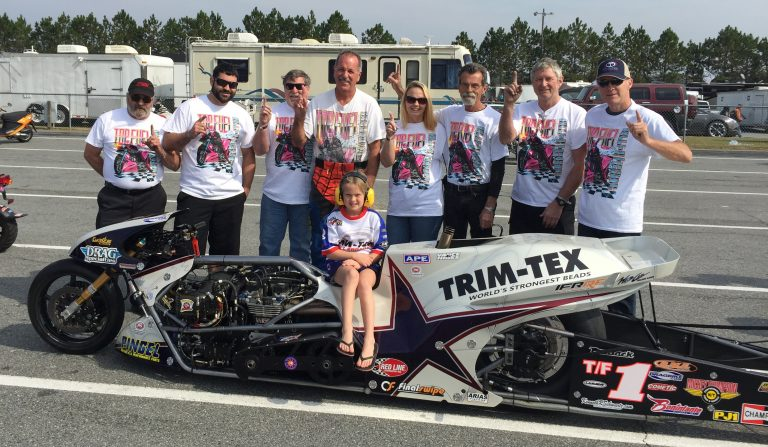 "Larry ""Spiderman"" McBride won his 17th Top Fuel Motorcycle Champtionship with Team Trim-Tex."