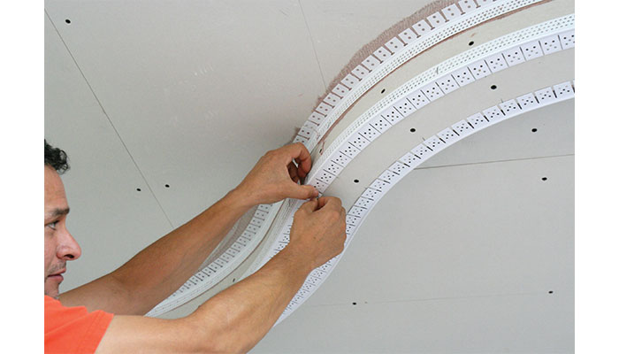 Trim-Tex 90 degree Inside Archway Corner Bead is ideal for finishing curved soffit details.