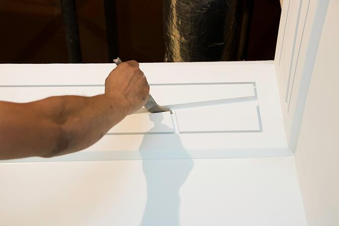 Paint the Reveal Bead with a thing paint brush and then paint the face of the drywall.
