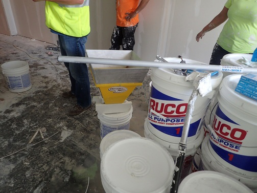 Trim-Tex Mud Hopper on the jobsite at the Cambria Hotel in Nashville.